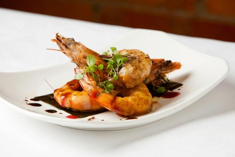 Harrisa-king-prawns-and-mirin-with-baby-herbs-salad