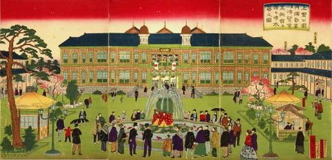 三代歌川広重・猩々噴水器之図