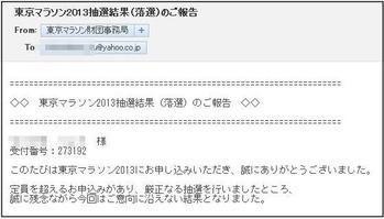 東京マラソン2013抽選結果(落選)のご報告