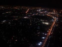 飛行機からのバンコクの夜景