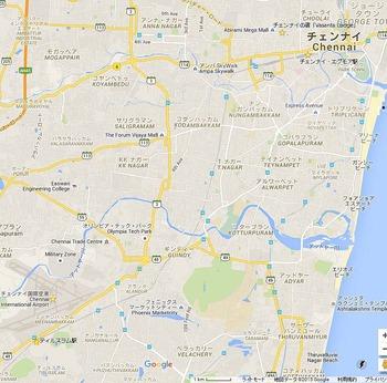 チェンナイの中心と国際空港との距離