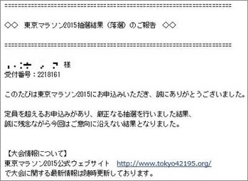 東京マラソン2015抽選結果(落選)のご報告