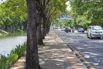 堀の両側には広い道路