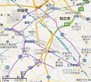 コメダ珈琲店への移動軌跡