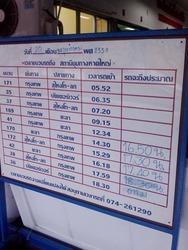 ハジャイ駅のホワイトボード