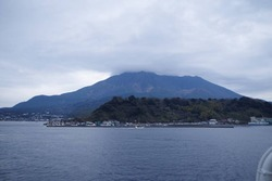 フェリーから見る桜島