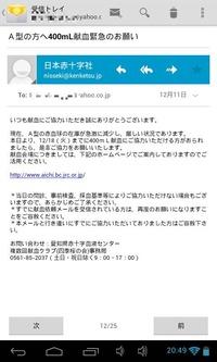 日本赤十字社からのメール