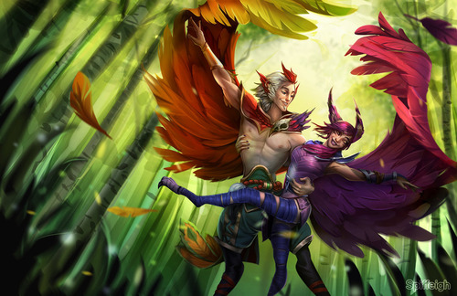 rakan_and_xayah___fan_art_by_spiffeigh-db645zb