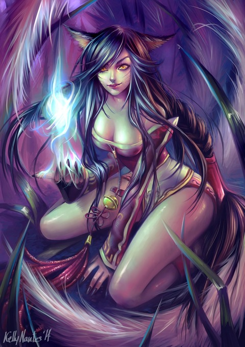 ahri___league_of_legends__fanart__by_kelly_nantes-d7goynw