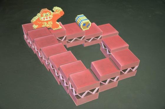 チョークで描かれる3Dマリオ1
