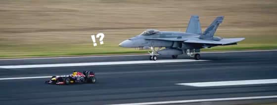 F1(レッドブル) vs 戦闘機の熱いレース