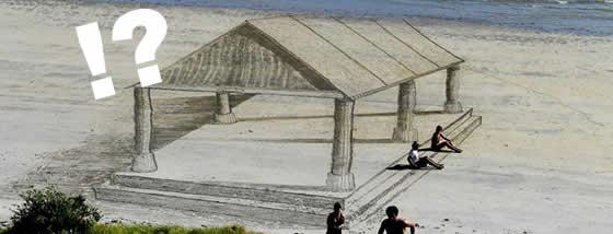 ビーチに描かれる3Dアート