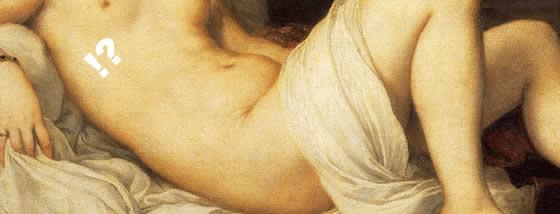 古くからある裸婦の絵画の美しさを現代の女性に