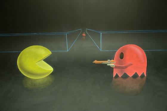 チョークで描かれる3Dマリオ5