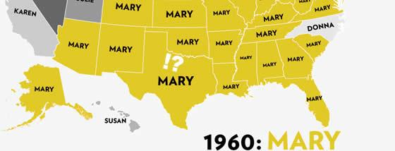 アメリカの州ごとに最も人気の女の子の名前