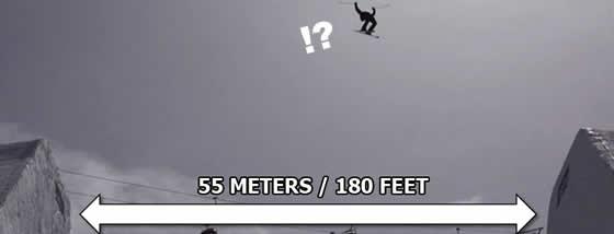 スキーで55メートルダブルバックフリップジャンプ1