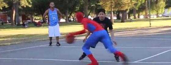 スパイダーマンがストリートバスケをしたら