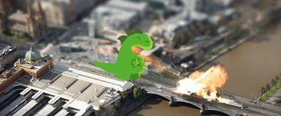 本当の大都市の映像をジオラマ風にして怪獣に襲わせるゲームっぽい