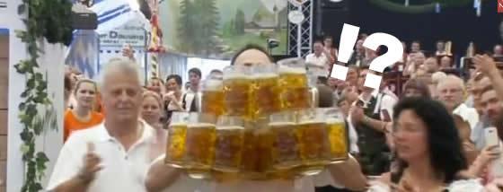 ビールのジョッキを27杯分を抱えて