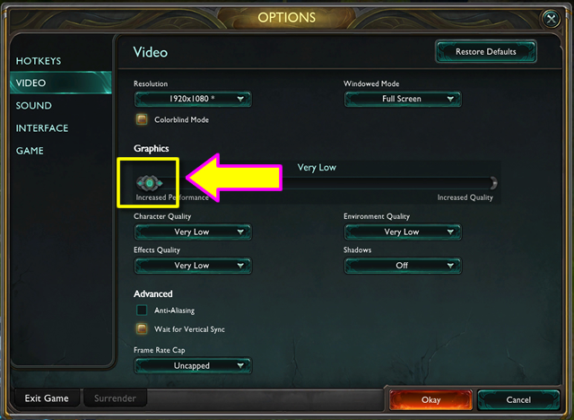 how to change serting in league