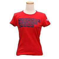 動物イラストTシャツ-レディース-レッド
