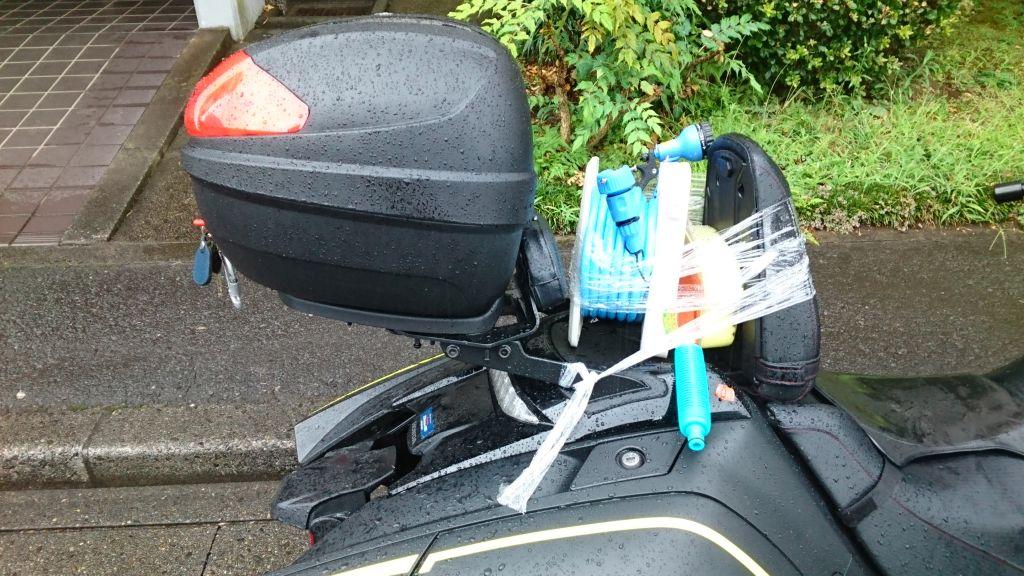 バイク洗車ホースとブラシ