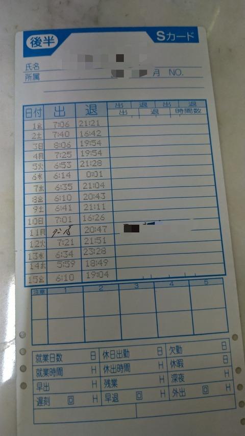 【画像】これがブラック企業のタイムカードじゃあ!!