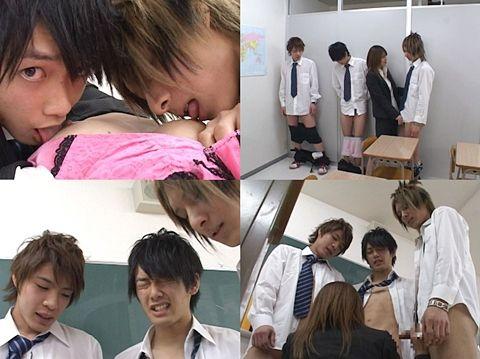 【DUGA】3人のイケメン学生が身体検査!?女教師と4Pエッチ-2