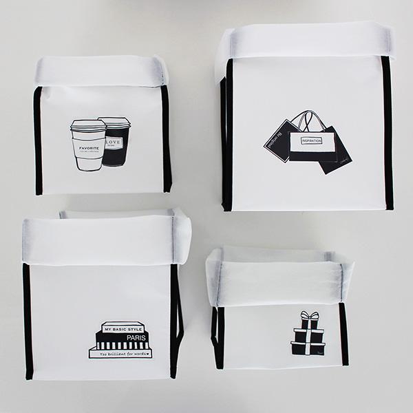 ホワイト×ブラックのバイカラー、4つのサイズの見せる収納用品に変える簡単アイデア【キャン★ドゥ×LOVEHOMEコラボ商品(ストレージバッグ&ウォールステッカー) 活用アイデア】