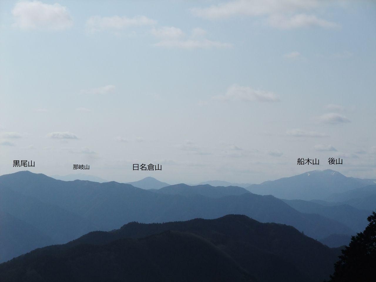 黒滝山頂 那岐山 日名倉山 黒尾山