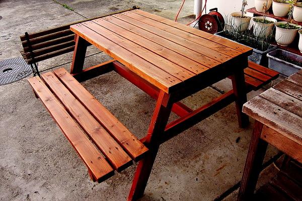 2018年06月09日(土)・・・ベンチテーブル、再塗装