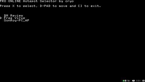 「Pro Online Client」hotspot.txtをPSPで編集「PRO Online Hotspot Selector」リリース