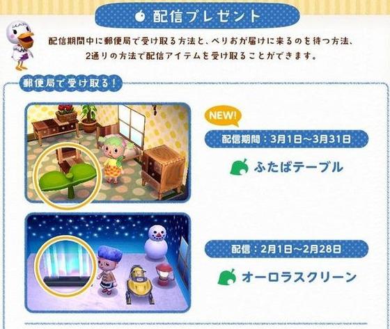 3DS「とびだせ どうぶつの森」新配信アイテム『ふたばテーブル』が3月配信決定