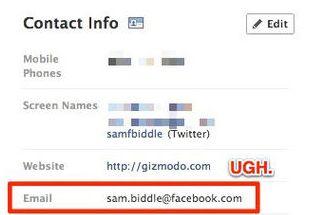 Facebookがデフォルトメールアドレスを「@facebook.com」に変更・プロフィールページ表示