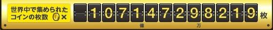 3DS 「Newスーパーマリオブラザーズ2」 9月12日時点で、累計1000億枚のコインが集まったそうです。