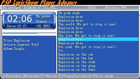 PSPで歌詞をカラオケのように表示できるMP3プレイヤーアプリ 「LyricShow Player Advance Ver1.0」