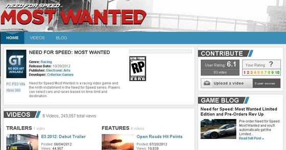「Need for Speed: Most Wanted」の ゲームプレイビデオムービーが公開