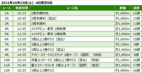 20211023東京競馬レース一覧