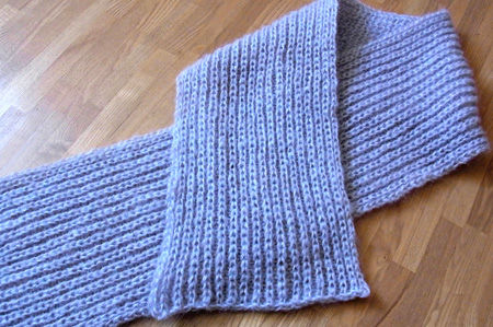 イギリスゴム編みのモヘアマフラー