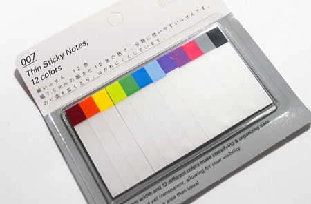 Thin Sticky Notes, 12 colors 細いふせん 12色