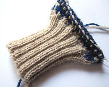 編みかけ手袋
