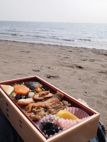 砂浜とお弁当。