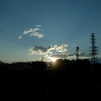 朝陽風の夕陽