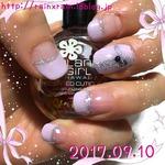 ピンクグレーのフレンチネイル☆