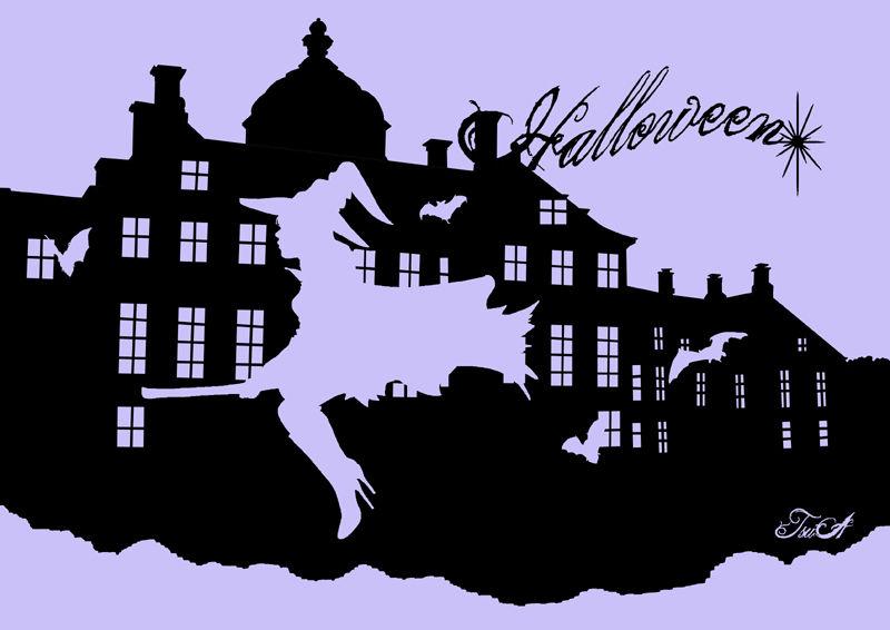 ハロウィン 切り絵用 原画イラストです 月虹女王