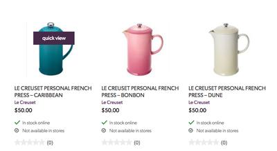 indigo le creuset french press 50, 80$