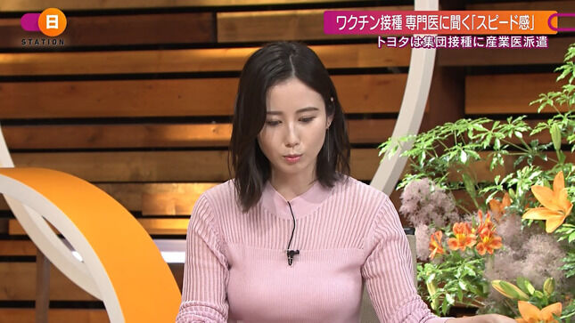 森川夕貴アナ ニットでおっぱいクッキリ!!【GIF動画あり】
