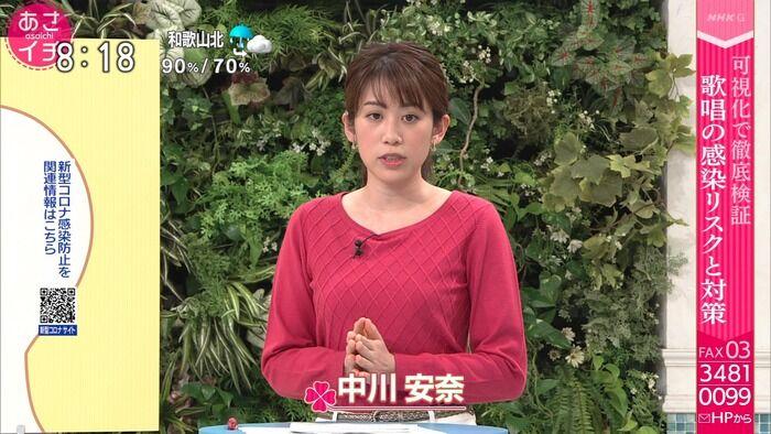 【画像】NHK中川安奈アナのロケットおっぱい柔らかいやろな…(;´Д`)ハァハァ
