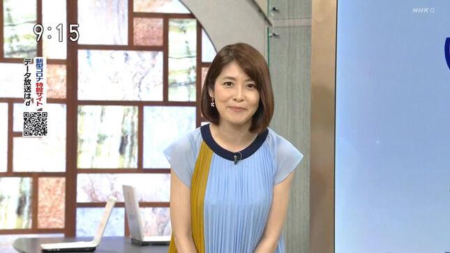 鎌倉千秋アナの膝上スカート & 透けた肩紐!