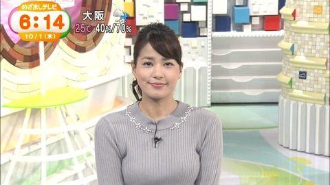 【画像】めざましテレビの女子アナのおっぱいが凄いwww